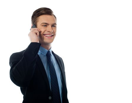 Handsome business executive communicating on cellphone against white background