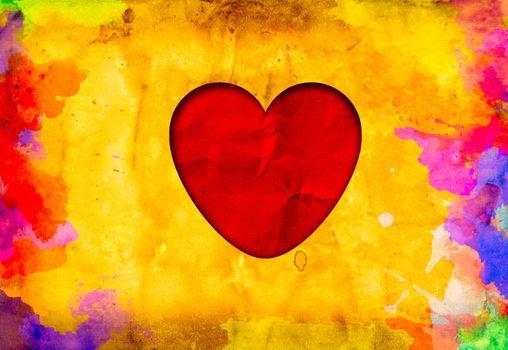 grunge love heart paper