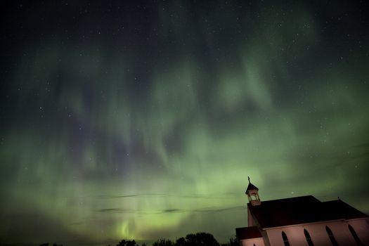 Night Shot Northern Lights Country Church