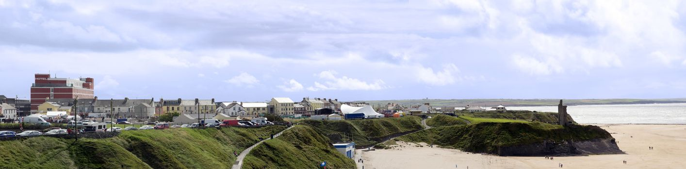 ballybunion in summer with panaramic view of the town and beach