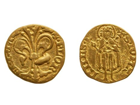 """Gold Florin (Fiorino d'oro) coin issued circa 1256 in Florence, Italy - reading """"Florentia"""" on the front side and """"S. Iohannes"""" on the rear side"""