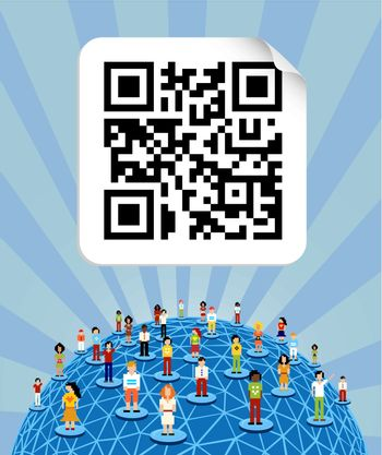Social media people network connection concept with social QR code and World globe