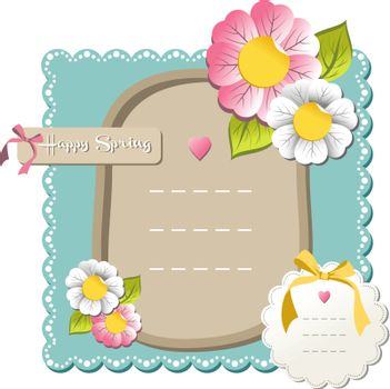 New happy spring label set with season flowers background. Vector file available.