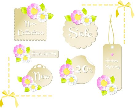 New happy spring labels collection with season flowers background. Vector file available.