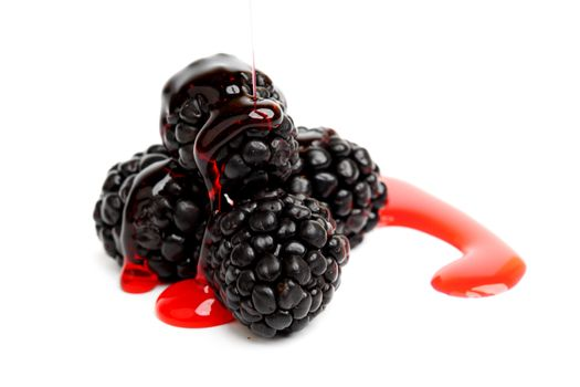blackberry pile in syrup