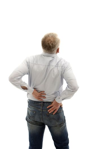 Middle-aged man has back pain.