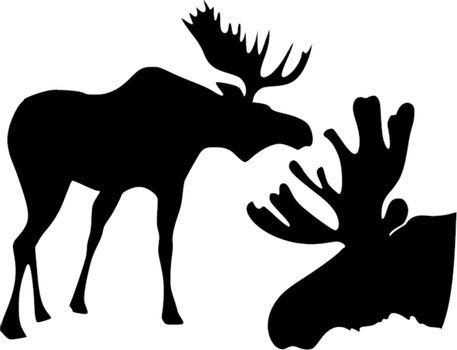 set of the silhouettes of the moose