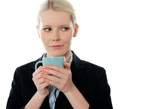 Coporate woman holding coffee mug isolated over white background