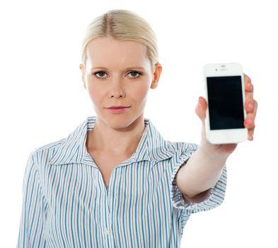 Corporate female communicating on phone against white background