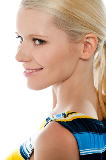 Side view of blond pretty woman, closeup shot isolated over white background