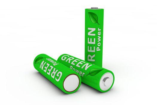 Three Green Eco Batteries on White