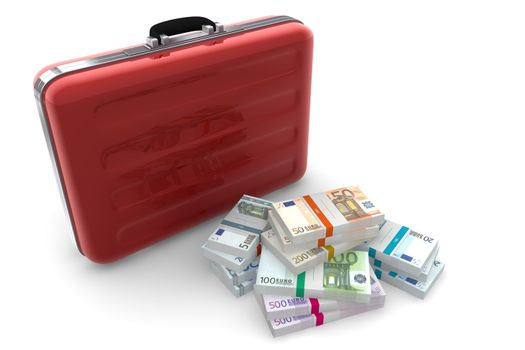 Euro Cash Packets and Metallic Red Briefcase