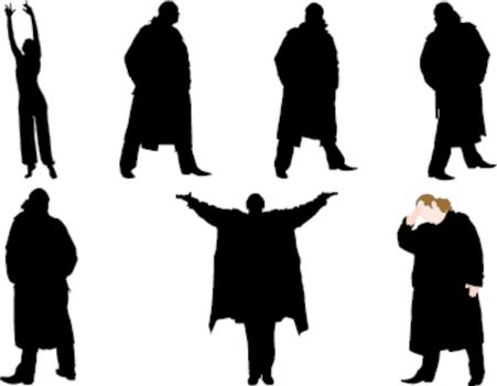 A collection of silhouettes of men in trench coat. Vector
