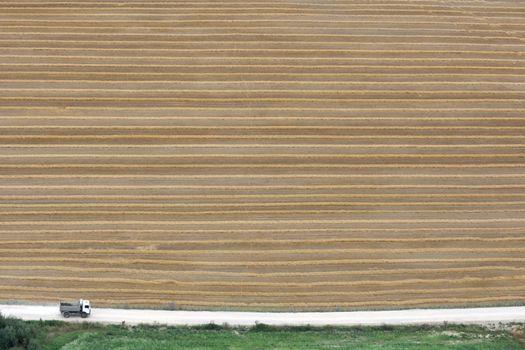 Dumper is going near field with haystacks