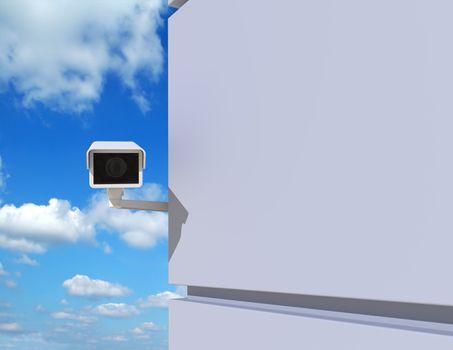 Security Camera Peeking Around the Corner