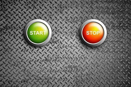 start and stop buttons on diamond steel texture