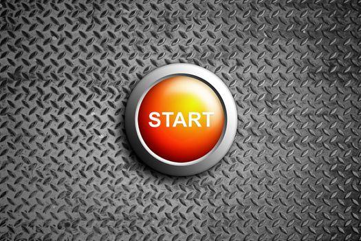 start button on diamond steel texture