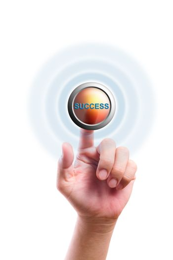 hand pushing success button isolated