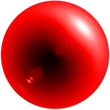 Abstract red sphere with shadow and glare