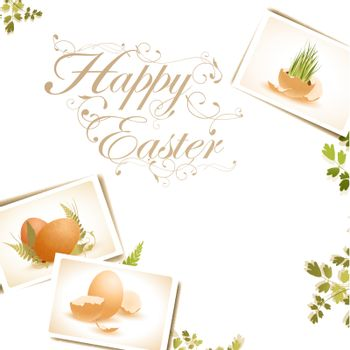 Easter background with some egg photos, copyspace for your text