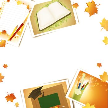 Education frame with some schooling photos, copyspace for your text