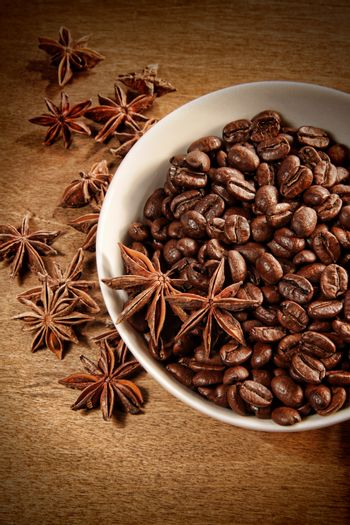 Bowl of coffee beans and spice