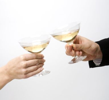 Celebration with two glass of wine