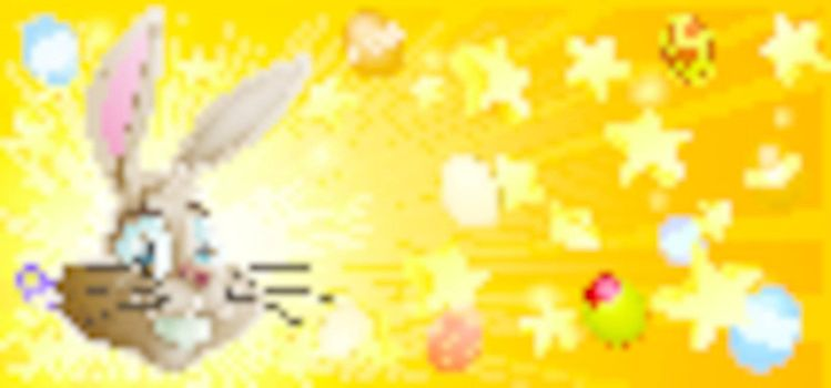 Easter background with Easter bunny stars and Easter eggs
