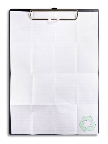 recycle paper on clip board isolated on white