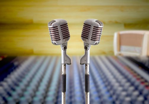 vintage microphone in sound record room