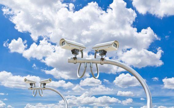 outdoor security cctv cameras against blue sky