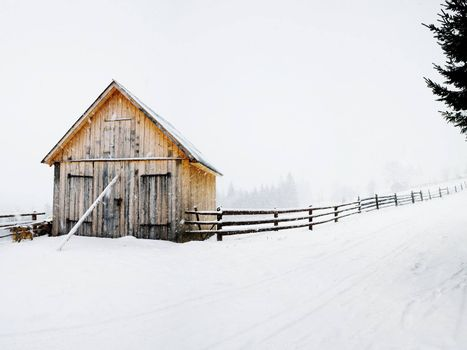 Stock photo: an image of a house in a winter wood