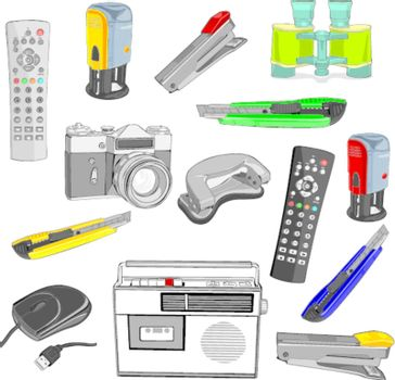 fully editable illustration office items