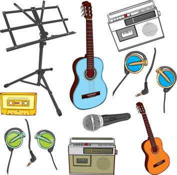 fully editable illustration music items