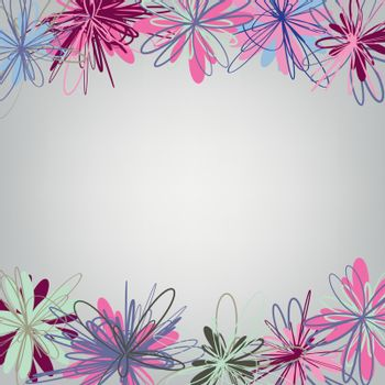 floral abstract background. freehand flowers. vector illustration