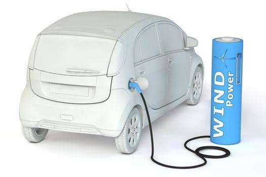 Battery Petrol Station - Wind Power fuels an E-Car