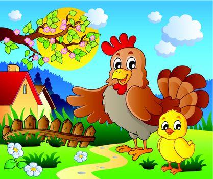 Scene with spring season theme 1 - vector illustration.