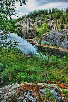 Scandinavian landscape with rocks