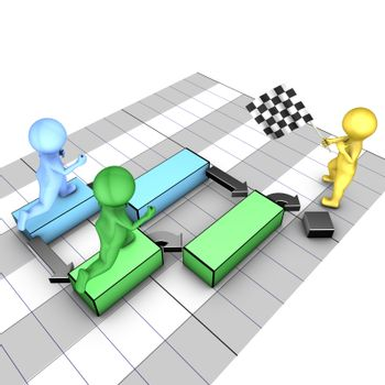 Concept of gantt chart. A team completes tasks. The flagman symbolizes the project deadline.