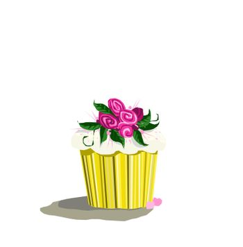 Sweet cupcake sits alone with pink flowers and leaves waiting to be enjoyed.