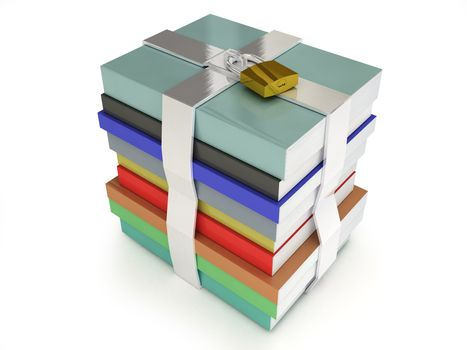 Stack of books locked with a white background