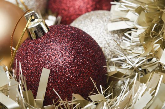Christmas Baubles and Tinsel Macro