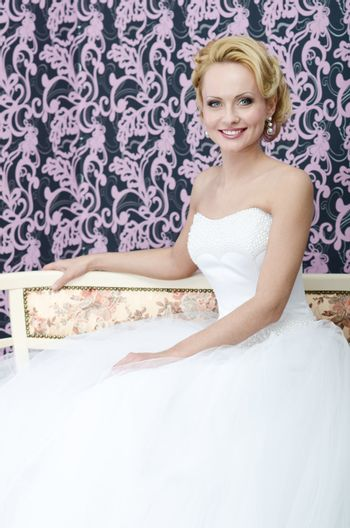 Bride smiling. Middle aged
