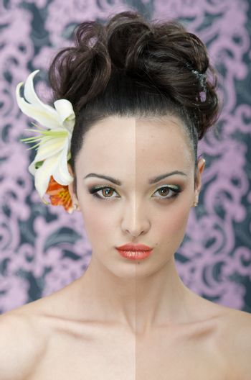 Brunette bride portrait retouch