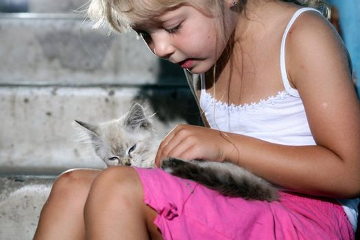 Friends. Nice girl with a kitten in her arms