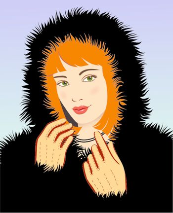 young beautiful woman in a black fur coat vector illustration