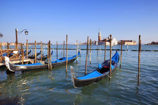 View of San Giorgio maggiore with gondolas