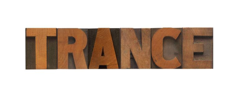 the word trance in old letterpress wood type