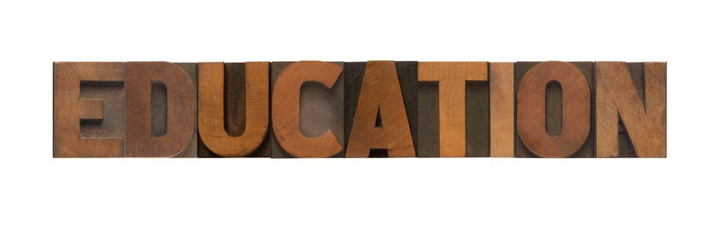 the word education in old wood type