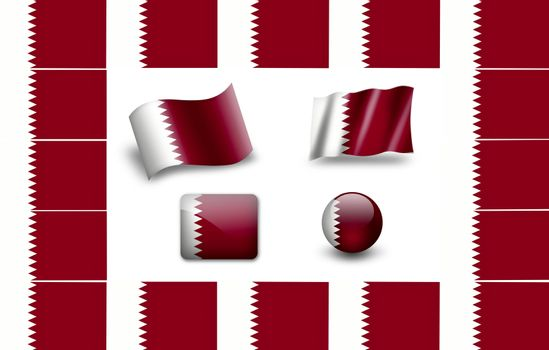 Flag of Qatar.  icon set. flags frame.